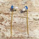Cloche Tronc シリコンビジューパールチェーンピアス blu