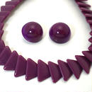 〈Costume jewelry〉60-80s  Clip-on Earrings & Necklace Purple《送料無料》