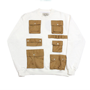 Pocket Detail Sweatshirts – White&Brown
