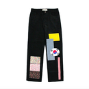 Flag Patchwork Pants – Black