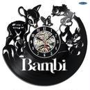 輸入雑貨 バンビ ちゃん 30cm レコード盤 壁掛け時計 アニメ 映画 人気  インテリア ディスプレイ 2種類展開 1
