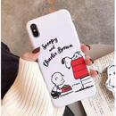 輸入雑貨 スヌーピー ケータイケース snoopy ケータイカバー  iphone XR XsMAX 最大種類 iphone 8 7 6 6 s-plus ハッピーフレンズTPU ホワイト1