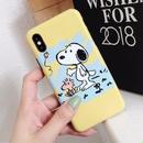 輸入雑貨 スヌーピー ケータイケース Snoopy ケータイカバー  iphone X ケース 最大種類 iphone 8 7 6 6 s-plus レトロイエロー