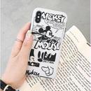 輸入雑貨 ミッキー ディズニー ケータイカバー  iphone Xs X 最大種類 iphone 8 7 6 6 s-plus レトロモノクロ2