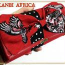 アフリカ布 リボン長財布♪