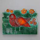 Vaggplattor Goksparv  赤いスズメの陶板