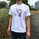 猫とカエルのTシャツ「しっぽ」(ホワイト)男女兼用【受注生産・送料無料】