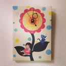 ☆SALE☆ファブリックパネル時計『シャボン玉少女と紳士な子猫』