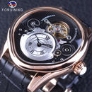 Forsining 自動巻き 機械式腕時計 トゥールビヨン ステンレス スケルトン レザー  ブラック・ゴールド