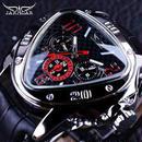 Jaragar メンズ 機械式腕時計 スポーツレーシングデザイン 本革ストラップ
