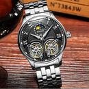 【海外限定ブランド】BINGER ファッション デュアル トゥールビヨン 腕時計 スケルトン ブラック ステンレス