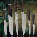 【6SET】ダマスカス模様三徳包丁2本入り ステンレス キッチンナイフ ステンレスナイフ 柄は木製
