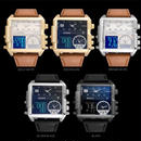 2018年最新作 Boamigo ブランド 男性スポーツ 腕時計 3タイムゾーン ビッグマンファッション ウォッチ レザー 長方形クォーツ