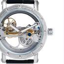 SHENHUA 腕時計 メンズ 機械式腕時計 自動巻 クラシック ブラックバンド ホワイトバンド 革バンド