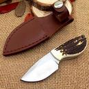 手作り枝角ミニ狩猟ナイフ58hrcブレード革シースサバイバルナイフ・小さなポケットナイフ・キャンプツール