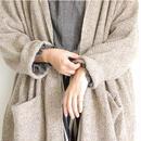 i c h i 180481 Hand Spin Yarn Long Cardigan / Mocha