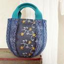 タイの藍染×ミャンマーの刺繍布 ボニーバッグSサイズ