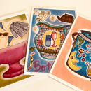 ポストカード3枚セット(夢のスープカップ、乾杯!、自然の恵み)