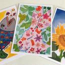 ポストカード3枚セット(かさのおさかな、花のウサギ、ひまわり)