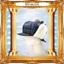 kki.2141 ボア探偵キャスケット。<ブルー>