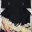 【黒留袖】正絹比翼/熨斗に鶴 吉祥文様☆164cm前後の方ベストサイズ【美品】