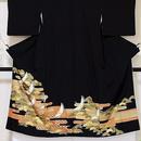 【黒留袖】正絹比翼 土佐霞に松 鶴☆140cm前後の方ベストサイズ【超美品】SS お薦めです
