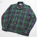 70s~ CHECKERED OPEN COLLAR SHIRT L