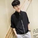 英字ラインシャツ 黒