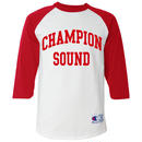 """CHAMPION SOUND"" RAGLAN BASEBALL TEE RED"