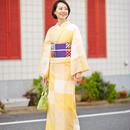 【5-9きもの】綿麻きもの 大格子コウさん 黄水仙 大西新之助商店
