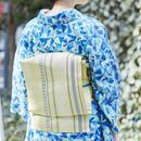 【5-9きもの2017】博多織八寸名古屋帯 変わり献上月桂樹 レモンイエロー