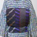 【5-9きもの】博多織八寸名古屋帯 エレクトリックライン 黒
