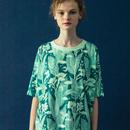 カンナの花のプリントTシャツ (green)
