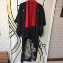【ド派手】ヴィンテージ 浮世絵 デザイン ブラック 着物 ガウン