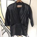 【個性的】ブラックレザーBIG変形ジャケットコート