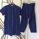 【人気】ストライプ ブルー ロング丈 パジャマシャツ セットアップ
