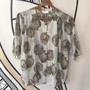 【奇抜】レトロ 壺デザイン シースルー 6分袖 日本製 ノーカラー柄シャツ