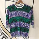 【奇抜】幾何学柄 日本製ヴィンテージ8分丈セーター