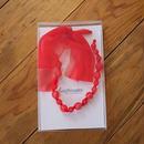 ビーズ&リボン ネックレス(br8/red)