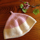 【horo2huroki】とんがりニット帽<size:M>pink×white