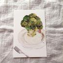 丸田ちひろ ちぎり絵ポストカード  「ブロッコリー」