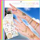 ファッション雑貨◆タトゥーシール ハンド専用 カラフルな16種類 ゴールドカラー◆P-TAT002