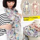 ファッション◆春らしく穏やかな色合いのフラワー柄ストール 2色◆jca0003