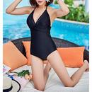 swim-02154  ブラック デザイン ホルターネック ワンピース 水着 レディース カップ付き