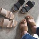 shoes-02009  ダブルベルトフラットサンダル