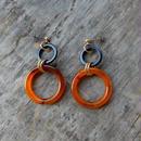 earrings-02199 送料無料!! ハンドメイド 日本製 べっ甲&ブラックリングピアス ☆WA04