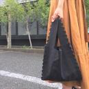 bag2-02223  送料無料! ブラック フェイクスエード スカラップトートバッグ