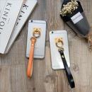 iphone-02320 送料無料! 本革レザー ストラップ付き クリアハード iPhoneケース
