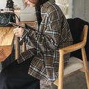 3月中旬~3月下旬入荷分 予約販売 tops-02018 オリーブブラウン タータンチェックルーズシャツ