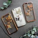 iphone-02350 バタフライ 蝶 デザイン メタル iPhoneケース